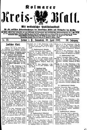 Kolmarer Kreisblatt vom 30.04.1892