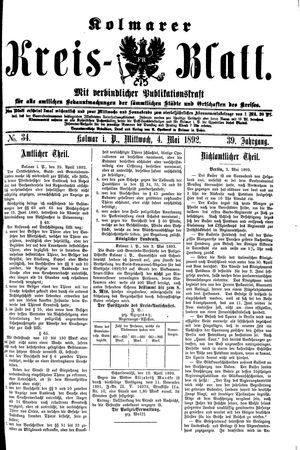 Kolmarer Kreisblatt vom 04.05.1892