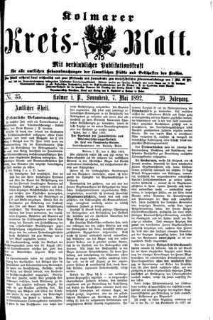 Kolmarer Kreisblatt vom 07.05.1892