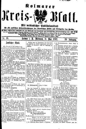 Kolmarer Kreisblatt vom 11.05.1892