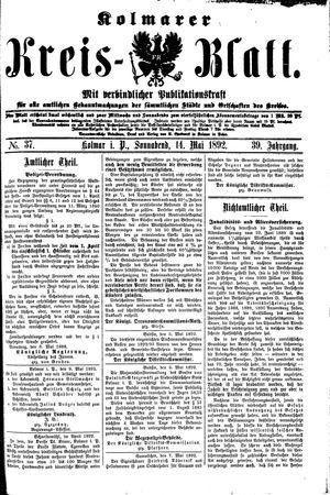 Kolmarer Kreisblatt vom 14.05.1892