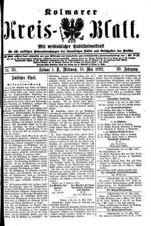 Kolmarer Kreisblatt vom 18.05.1892