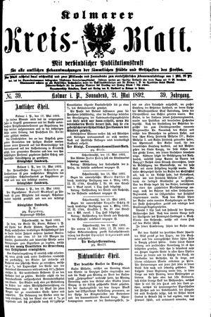 Kolmarer Kreisblatt vom 21.05.1892
