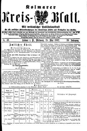 Kolmarer Kreisblatt vom 25.05.1892