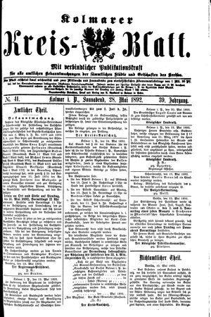 Kolmarer Kreisblatt vom 28.05.1892