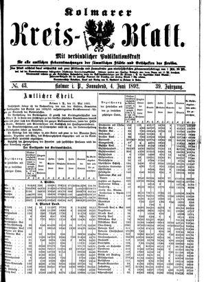 Kolmarer Kreisblatt vom 04.06.1892