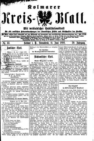 Kolmarer Kreisblatt vom 11.06.1892