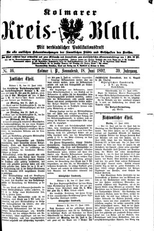 Kolmarer Kreisblatt vom 18.06.1892