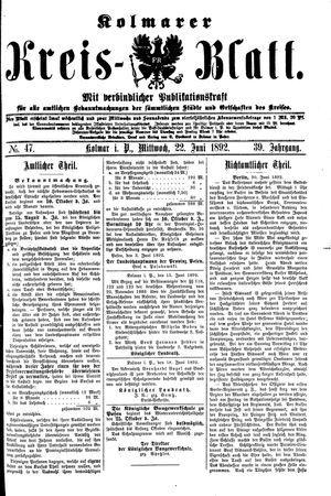 Kolmarer Kreisblatt vom 22.06.1892