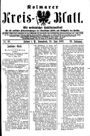 Kolmarer Kreisblatt vom 25.06.1892