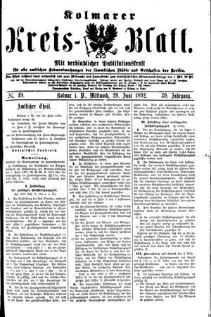 Kolmarer Kreisblatt vom 29.06.1892