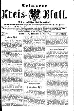 Kolmarer Kreisblatt vom 02.07.1892