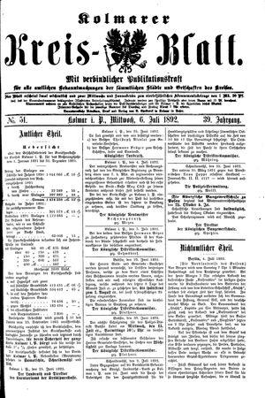Kolmarer Kreisblatt vom 06.07.1892