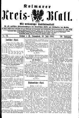 Kolmarer Kreisblatt vom 16.07.1892
