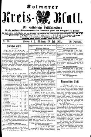 Kolmarer Kreisblatt vom 20.07.1892