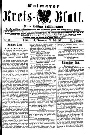 Kolmarer Kreisblatt vom 23.07.1892