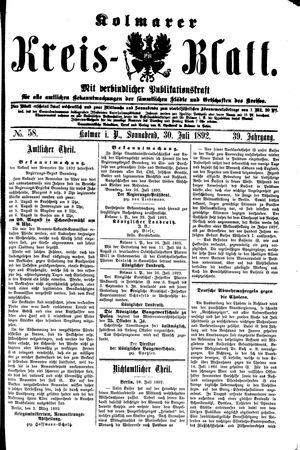 Kolmarer Kreisblatt vom 30.07.1892