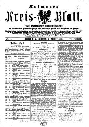 Kolmarer Kreisblatt vom 04.01.1893