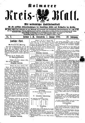 Kolmarer Kreisblatt on Jan 7, 1893