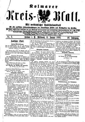 Kolmarer Kreisblatt vom 11.01.1893