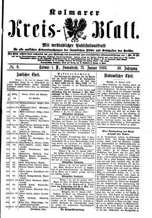 Kolmarer Kreisblatt vom 21.01.1893