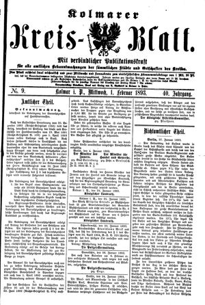 Kolmarer Kreisblatt on Feb 1, 1893