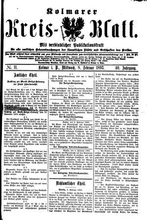 Kolmarer Kreisblatt vom 08.02.1893