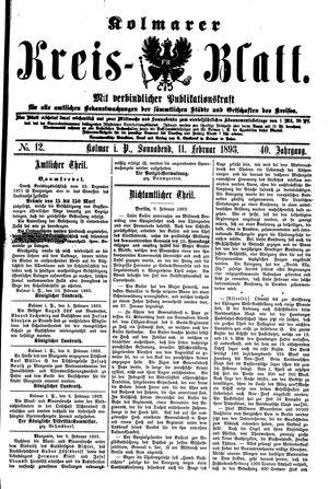 Kolmarer Kreisblatt vom 11.02.1893