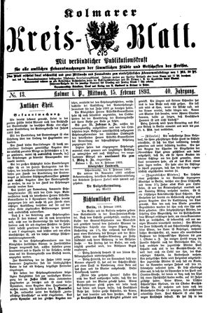 Kolmarer Kreisblatt vom 15.02.1893