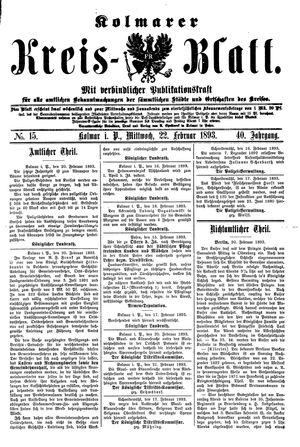 Kolmarer Kreisblatt vom 22.02.1893