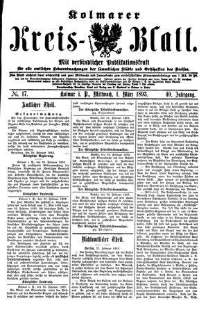 Kolmarer Kreisblatt vom 01.03.1893