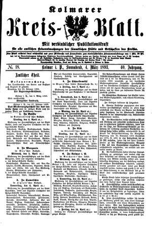 Kolmarer Kreisblatt vom 04.03.1893