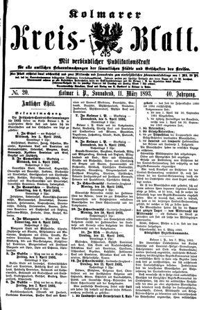 Kolmarer Kreisblatt vom 11.03.1893
