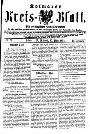 Kolmarer Kreisblatt vom 15.03.1893