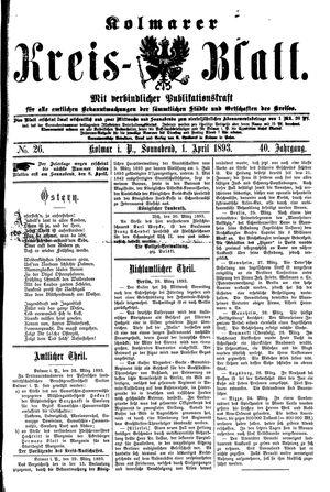 Kolmarer Kreisblatt vom 01.04.1893