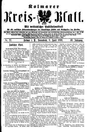 Kolmarer Kreisblatt vom 08.04.1893