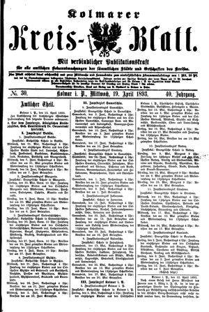 Kolmarer Kreisblatt vom 19.04.1893