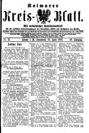 Kolmarer Kreisblatt vom 22.04.1893