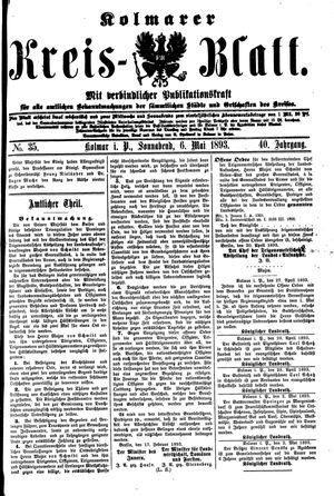Kolmarer Kreisblatt vom 06.05.1893