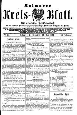 Kolmarer Kreisblatt on May 13, 1893
