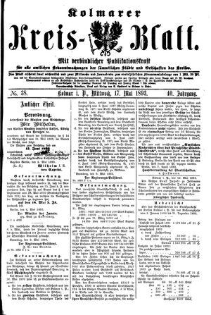 Kolmarer Kreisblatt vom 17.05.1893