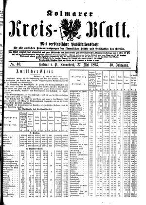 Kolmarer Kreisblatt vom 27.05.1893