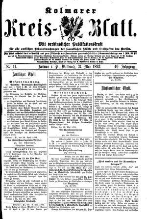 Kolmarer Kreisblatt vom 31.05.1893