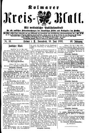 Kolmarer Kreisblatt vom 10.06.1893