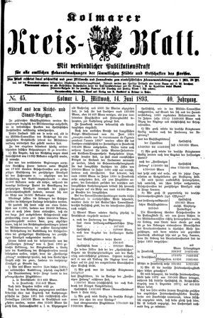 Kolmarer Kreisblatt vom 14.06.1893