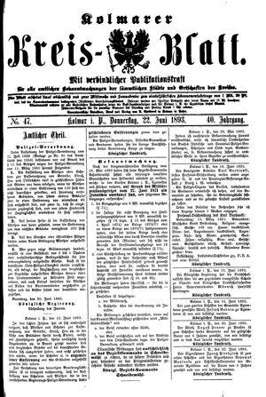Kolmarer Kreisblatt on Jun 22, 1893