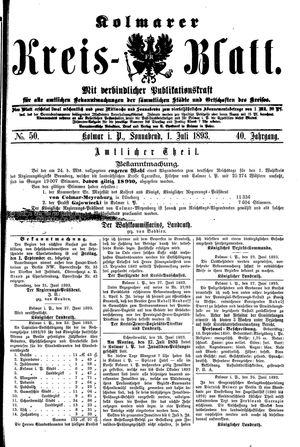 Kolmarer Kreisblatt vom 01.07.1893