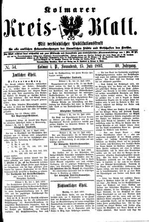 Kolmarer Kreisblatt vom 15.07.1893