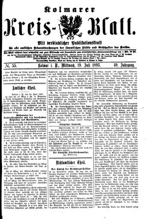Kolmarer Kreisblatt vom 19.07.1893