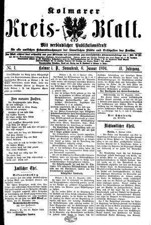 Kolmarer Kreisblatt vom 06.01.1894